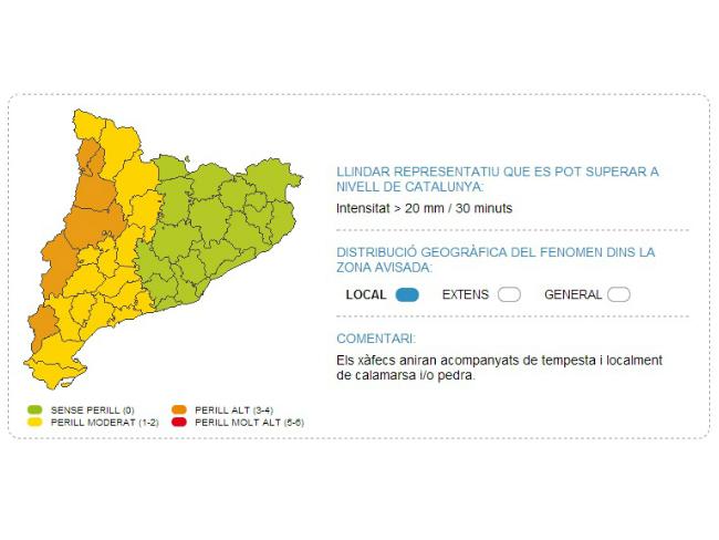 Previsió del perill meteorològic a Catalunya aquesta tarda