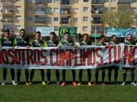 Protestes de la plantilla per un nou incompliment de Jesús Fernández, màxim accionista del club // Foto: Juanma Medina-TFC