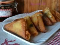 Samosas de queso de cabra y mermelada de trompetas de la muerte // Imatge Hoy cocina Vivi