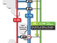 Els nous descomptes a la C-16 en els trams Terrassa-Manresa i Terrassa-Sant Cugat entraran en vigor el 4 de gener